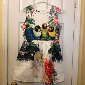 Dresses & Skirts - White mini dress with birds